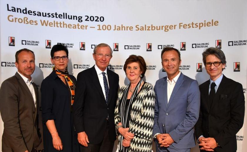 PK Landesausstellung Peter Husty, Margarethe Lasinger, Wilfried Haslauer, Helga Rabl-Stadler, Bernhard Auinger, Martin Hochleitner
