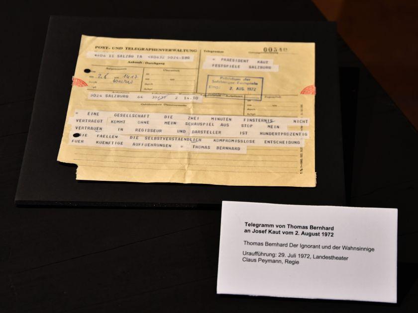 Telegramm von Thomas Bernhard Ausstellung Grosses Welttheater 100 Jahre Salzburger Festspiele
