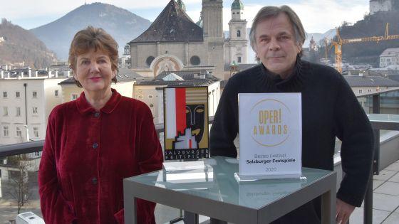 Helga Rabl-Stadler und Markus Hinterhäuser Salzburg Oper Award
