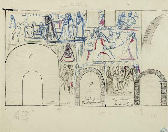 Anton Faistauer: Skizze Fresko, um 1926 (Archiv der Salzburger Festspiele)