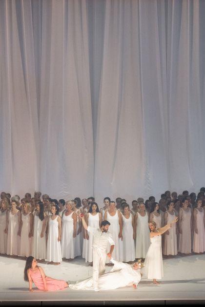 Don Giovanni 2021: Federica Lombardi (Donna Elvira), Nadezhda Pavlova (Donna Anna), David Steffens (Masetto), Michael Spyres (Don Ottavio), Anna Lucia Richter (Zerlina), Ensemble