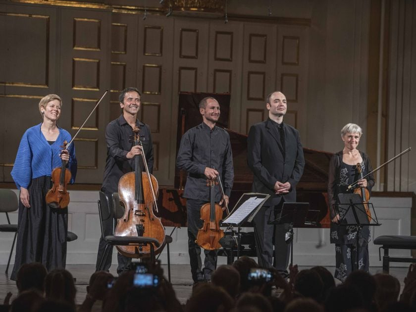 Chamber Concert Faust · Schreiber · Tamestit · Queyras · Melnikov 2021: Isabelle Faust (Violin), Jean-Guihen Queyras (Violoncello), Antoine Tamestit (Viola), Alexander Melnikov (Piano), Anne Katharina Schreiber (Violin)