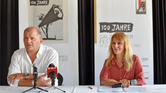 Regisseur und Burgtheaterdirektor Martin Kušej und Bettina Hering, Schauspiel-Leiterin der Salzburger Festspiele.