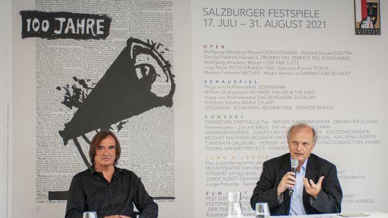 Stimmpädagoge und Gründungsmitglied des Austrian Voice Institute Reinhard Schmid und Festspieldoc Josef Schloemicher Thier